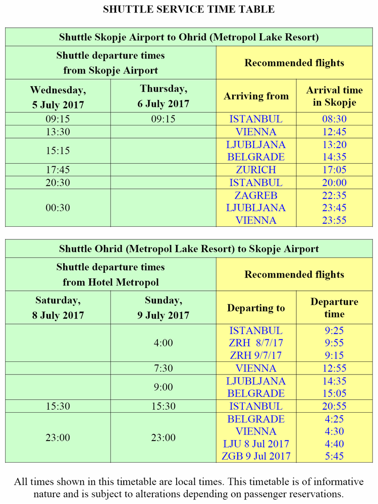 SHUTTLE SERVICE TIME TABLE